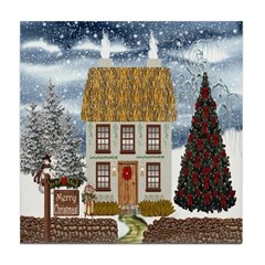 Merry Christmas Cottage Tile