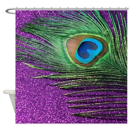 Glittery purple peacock feather shower curtain by christyoliver