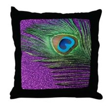 glittery purple peacock feather Throw Pillow