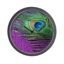 glittery purple peacock feather Wall Clock