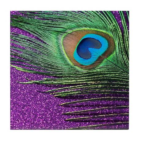 glittery purple peacock feather Tile Coaster