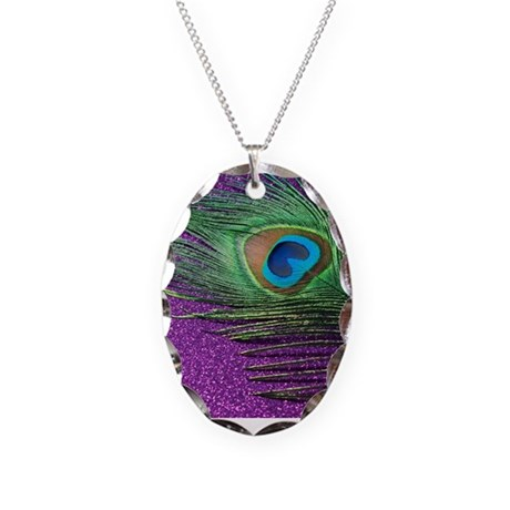 glittery purple peacock feather Necklace Oval Char