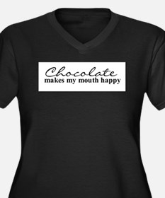 Happy Chocolate Women's Plus Size V-Neck Dark T-Sh