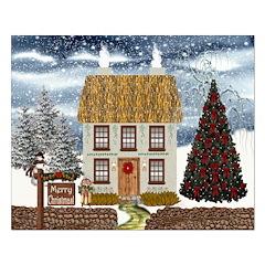 Merry Christmas Cottage Print