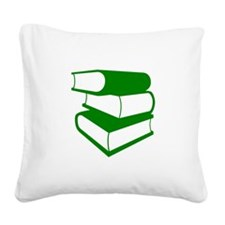 Stack Of Green Books Square Canvas Pillow