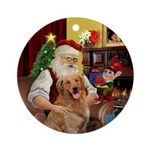 Santa's Golden Retriever (B2) Ornament (Round)