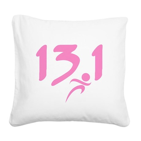 Pink 13.1 half-marathon Square Canvas Pillow