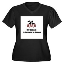 My Dream Women's Plus Size V-Neck Dark T-Shirt