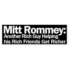 Mitt Romney: Another Rich Guy Bumper Bumper Sticker