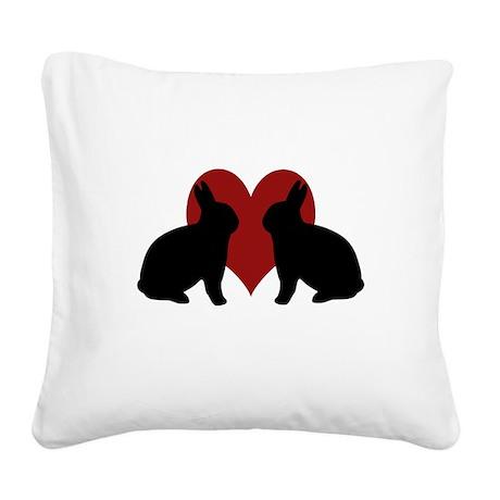 bunnylove.psd Square Canvas Pillow