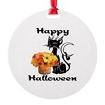 Halloween Black Cat Round Ornament