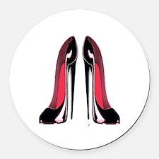 Pair of black stiletto shoes.jpg Round Car Magnet