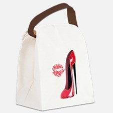 red stiletto and kiss.png Canvas Lunch Bag