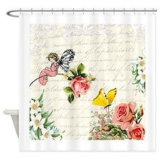 Vintage fairy garden Shower Curtain