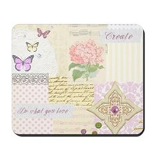 Girly pastel vintage collage Mousepad