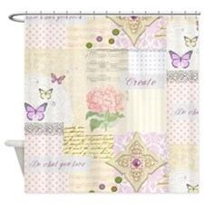 Girly pastel vintage collage Shower Curtain