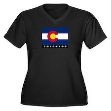 Colorado State Flag Women's Plus Size V-Neck Dark