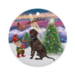 Santa's Take Off & Chocolate Lab Ornament (Round)