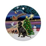 Xmas Magic & Black Lab Ornament (Round)