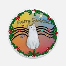 XMGr- Holly Wreath - White CatOrnament (Round)
