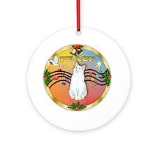 XmasMusic(Gr)-Whtie Cat Ornament (Round)
