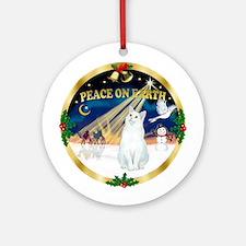 Xmas Sunrise - White Cat Ornament (Round)