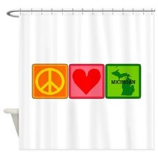 Peace Love Michigan Shower Curtain