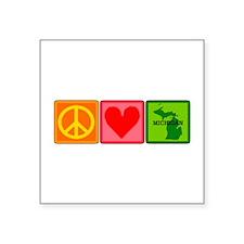 """Peace Love Michigan Square Sticker 3"""" x 3"""""""