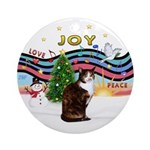 XMusic1-Calico & white cat Ornament (Round)