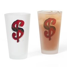 Red Dollar Sign Drinking Glass