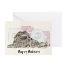 Christmas Shih Tzu Black Greeting Cards (Package o
