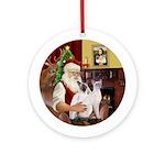 Santa's Two Siamese cats Ornament (Round)