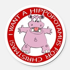 Hippo for Christmas Round Car Magnet