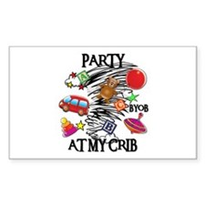 PARTY AT MY CRIB Rectangle Decal