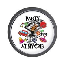 PARTY AT MY CRIB Wall Clock