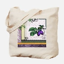 Vintage Plum Fruit Collage Tote Bag