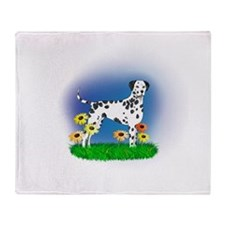 Dalmatian with Daisies Throw Blanket