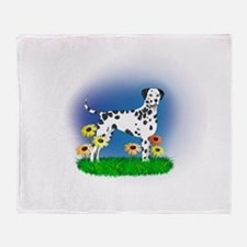 Dalmatian with Daisies Throw Blanket