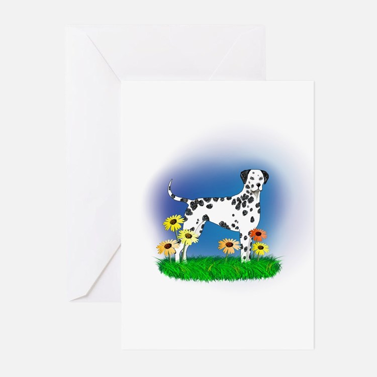 Dalmatian with Daisies Greeting Cards (Pk of 20)