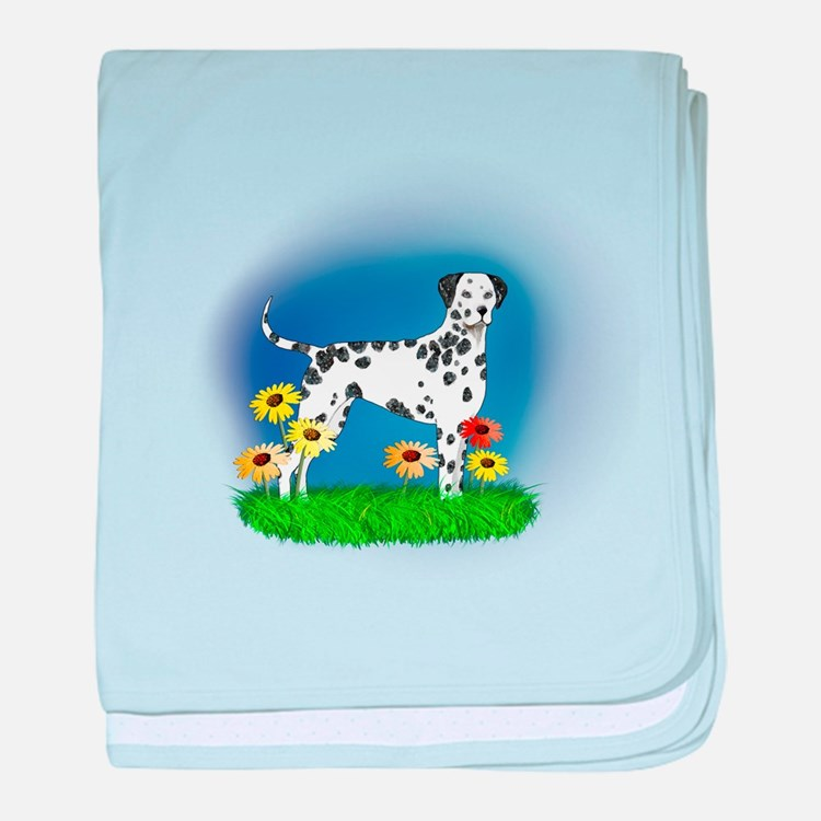 Dalmatian with Daisies baby blanket