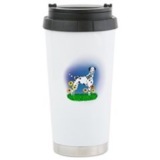 Dalmatian with Daisies Travel Mug