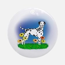 Dalmatian with Daisies Ornament (Round)