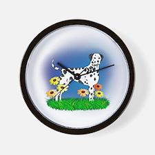 Dalmatian with Daisies Wall Clock