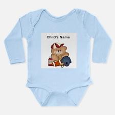 Personalize Football Teddy Bear Baby Bodysuit Long