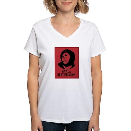 viva la restauracion Women's V-Neck T-Shirt