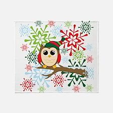 Christmas owl Throw Blanket