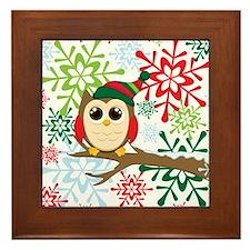 Christmas owl Framed Tile