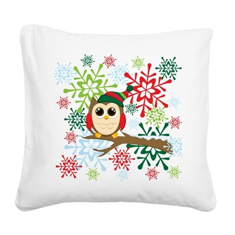 Christmas owl Square Canvas Pillow