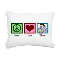 Peace Love Mom Rectangular Canvas Pillow