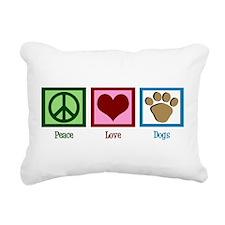 Peace Love Dogs Rectangular Canvas Pillow